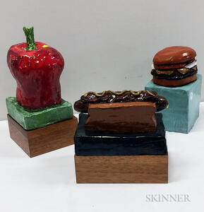 Aaron Fink (American, b. 1955)      Three Ceramic Sculptures: Hotdog ,  Hamburger