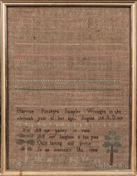 "Needlework Sampler ""Harriot Putney,"""