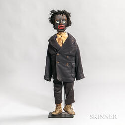 Carved and Painted Pine Clothed Black Man Ventriloquist Dummy