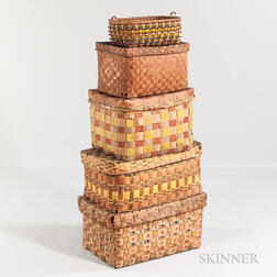 Stack of Five Native American Polychrome and Stamp-decorated Splint Baskets