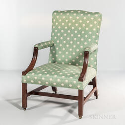 Carved Mahogany Open Armchair