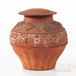 Redware Pottery Jar and Cover