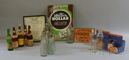 Collection of Clinton, Massachusetts Soda and Beverage Bottles, Crates, and   Advertising Signs
