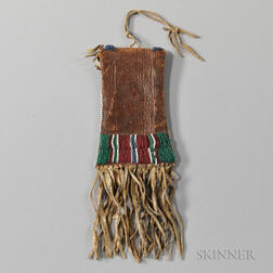 Kiowa Beaded Leather Strike-a-Light Pouch