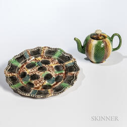 Whieldon-type Lead-glazed Ceramic Teapot, Cover, and Plate