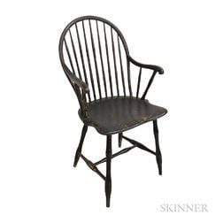 Black-painted Bow-back Windsor Armchair
