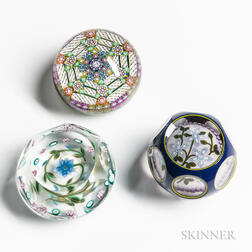 Three Floral Paperweights by Perthshire Glass, Selkirk Glass, and Peter McDougall