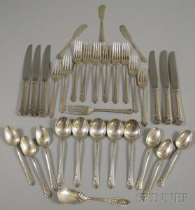 "Oneida/Heirloom ""Damask Rose"" Sterling Silver Partial Flatware Service"