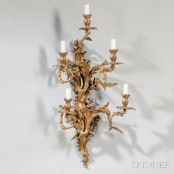 Louis XVI-style Gilt-bronze Five-light Wall Sconce
