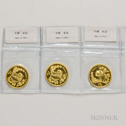Three 1997 Chinese 25 Yuan Large Date Gold Pandas.