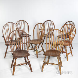 Assembled Set of Eight Braced Bow-back Windsor Chairs