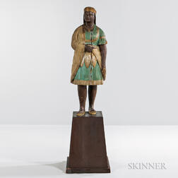 Carved and Painted Indian Maiden Tobacconist Figure