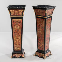 Pair of Louis XIV-style Marble-top Boulle-work Pedestals