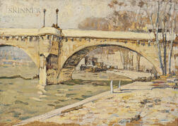 Roy Henry Brown (American, 1879-1956)      Three Scenes of Paris: Along the Seine (Pont Neuf) ,  Pont Neuf-Paris