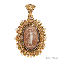 Antique 18kt Gold, Hardstone Cameo, Pearl, and Diamond Pendant