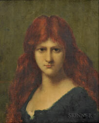 Manner of Jean Jacques Henner (French, 1829-1905)    Portrait of a Redhead