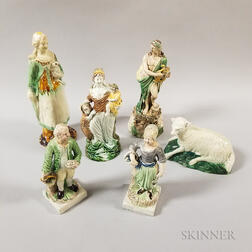 Six Ralph Wood-type Staffordshire Ceramic Figures