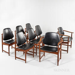 Eight A. Hovmand Olsen Teak and Leather Dining Chairs