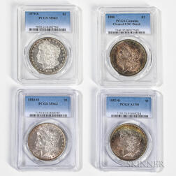 Four Graded Morgan Dollars