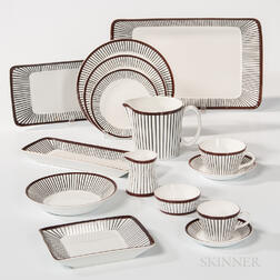 "Eighty-three-piece Stig Lindberg ""Spisa Ribb"" Dinner Service by Gustavsberg"