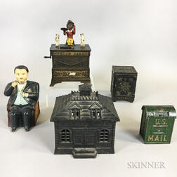 Two Cast Iron Mechanical and Three Still Banks