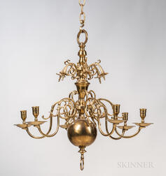 Brass Six-light Chandelier