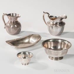 Five Pieces of Sterling Silver Tableware