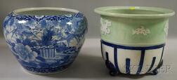 Japanese Porcelain Fish Bowl and Footed Jardiniere