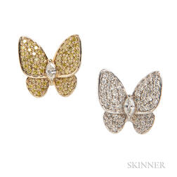 18kt Gold, Colored Diamond, and Diamond Butterfly Earrings