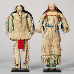 Pair of Beaded Hide Lakota Dolls