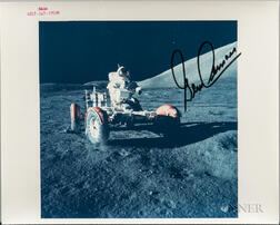 Apollo 17, Eugene Cernan Piloting the Lunar Roving Vehicle on the Lunar Surface, Signed Photograph.
