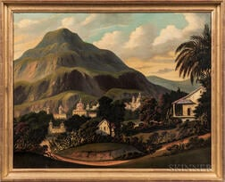 Thomas Chambers (New York/England, 1808-1869)      Tropical Scene with Churches and Palms