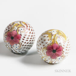 Two Orient and Flume Floral Paperweights