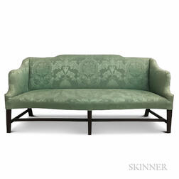 Chippendale Upholstered Mahogany Serpentine Sofa