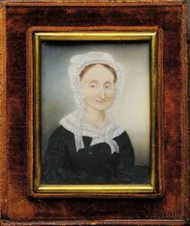 Portrait Miniature of a Woman in a Black Dress with a Lacy White Collar and Bonnet