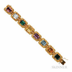 18kt Gold Gem-set Bracelet