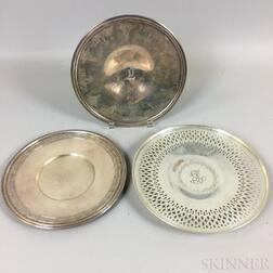 Three Sterling Silver Footed Plates