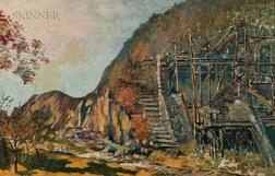 Channing Cabot (American, 1868-1932)      Autumn Landscape with Quarry