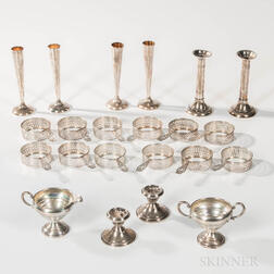 Group of Sterling Silver Weighted Bud Vases, Weighted Low Candlesticks, and Reticulated Sleeves