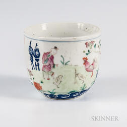 "Famille Rose Enameled ""Chicken Cup,"""