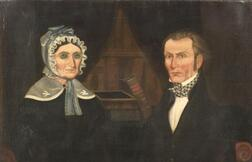 Attributed to Horace Bundy (Vermont, 1814-1883)      Mourning Picture of a Mother and her Son.