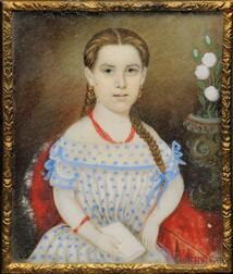 Portrait of a Girl with Long Braided Hair