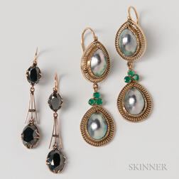 Pair of Mabe Pearl and Emerald Earrings and a Pair of Hematite Earrings
