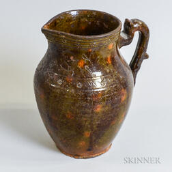 Sgraffito-decorated Glazed Redware Pitcher