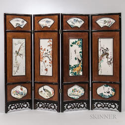 Four-panel Enameled Plaque Screen