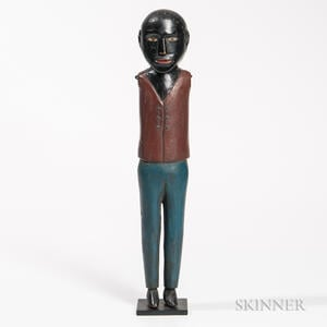 Carved and Polychrome Painted Figure of Black Man