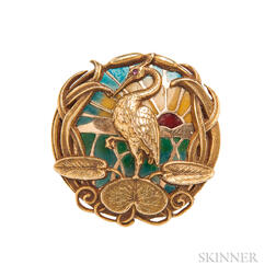 Art Nouveau 14kt Gold, Plique-a-jour Enamel, and Diamond Watch Pin, Riker Bros.