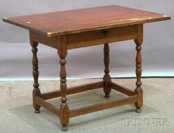 William & Mary Maple and Birch Stretcher-base Tavern Table with Drawer