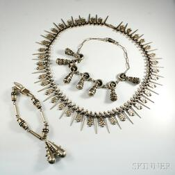 Three Pieces of Modern Mexican Silver Jewelry