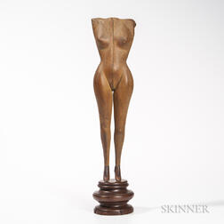 Carved Wooden Nude Female Torso